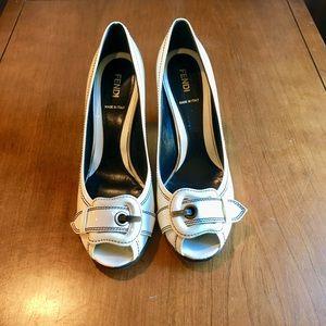 Fendi black and white peep toe pumps